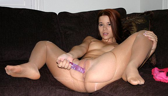 Pantyhose over dildo